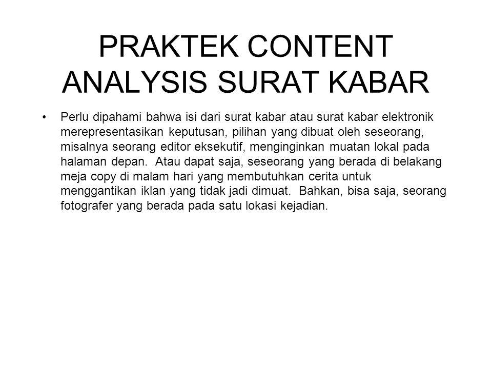 PRAKTEK CONTENT ANALYSIS SURAT KABAR