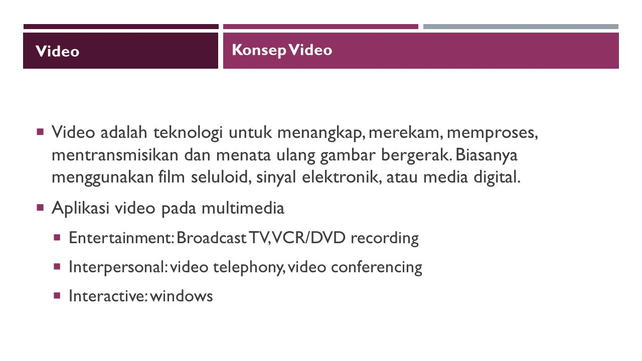 Aplikasi video pada multimedia
