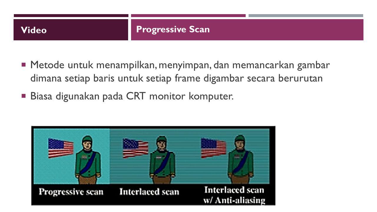 Biasa digunakan pada CRT monitor komputer.