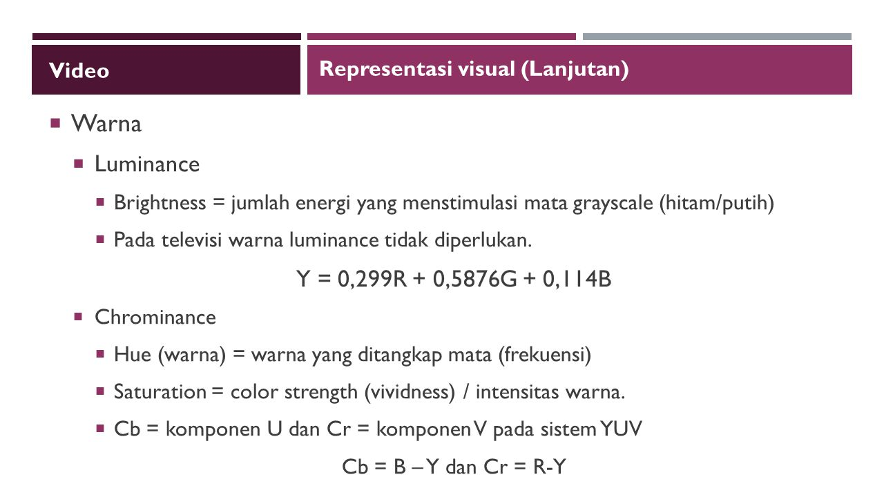 Warna Luminance Y = 0,299R + 0,5876G + 0,114B Video