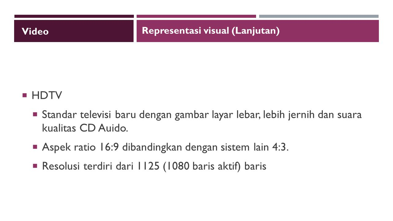 Aspek ratio 16:9 dibandingkan dengan sistem lain 4:3.