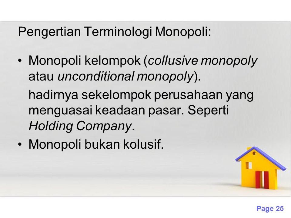 Pengertian Terminologi Monopoli: