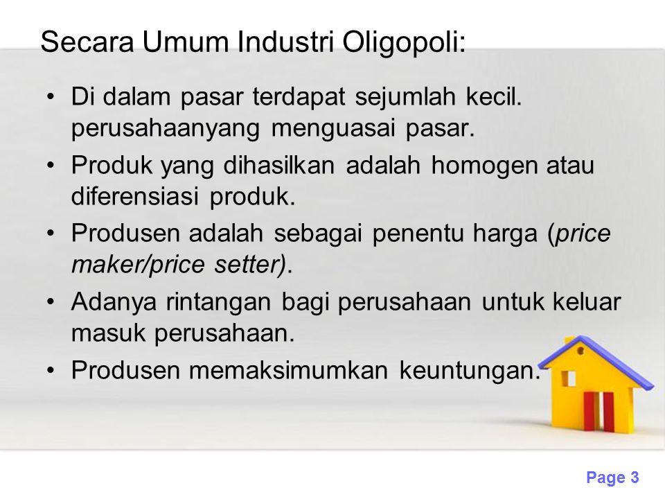 Secara Umum Industri Oligopoli: