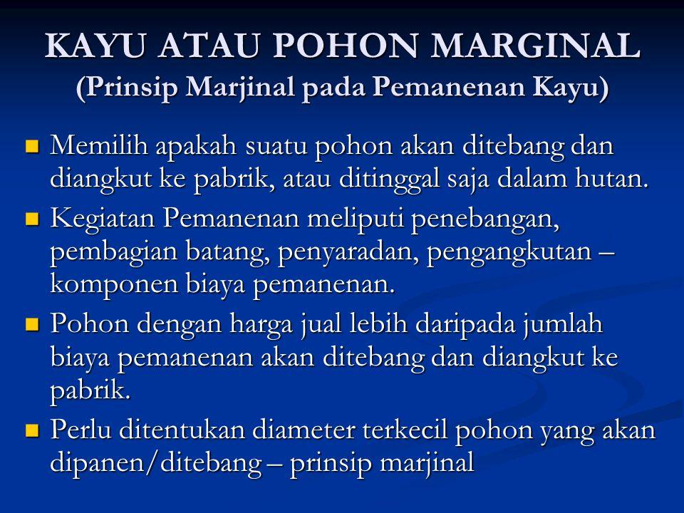 KAYU ATAU POHON MARGINAL (Prinsip Marjinal pada Pemanenan Kayu)