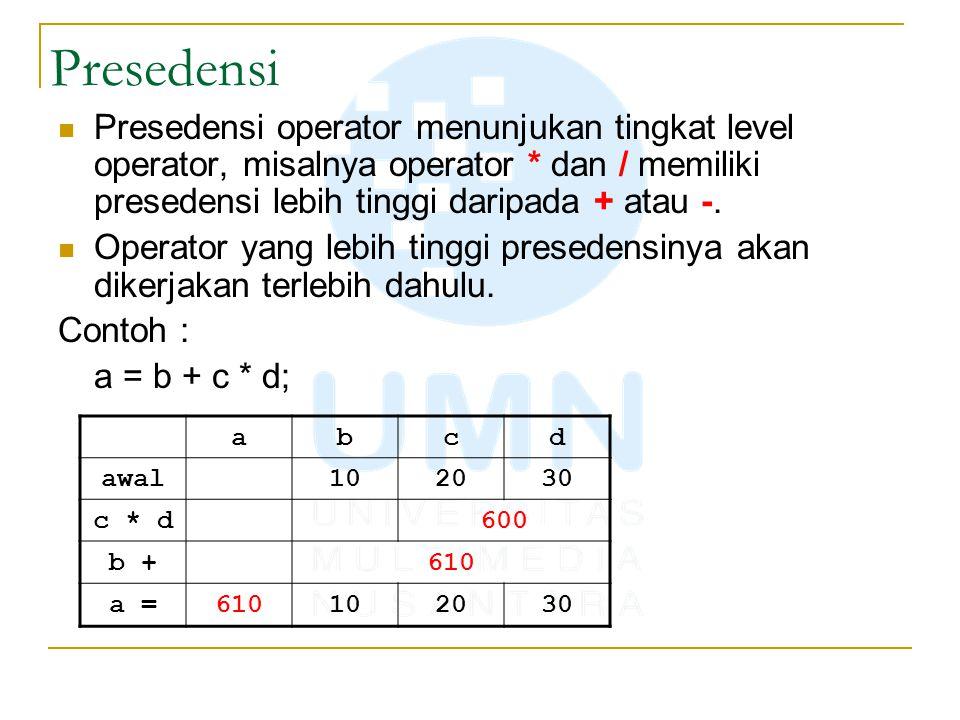 Presedensi Presedensi operator menunjukan tingkat level operator, misalnya operator * dan / memiliki presedensi lebih tinggi daripada + atau -.