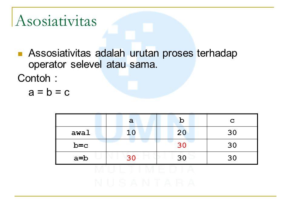 Asosiativitas Assosiativitas adalah urutan proses terhadap operator selevel atau sama. Contoh : a = b = c.