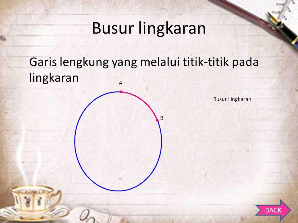 Busur lingkaran Garis lengkung yang melalui titik-titik pada lingkaran
