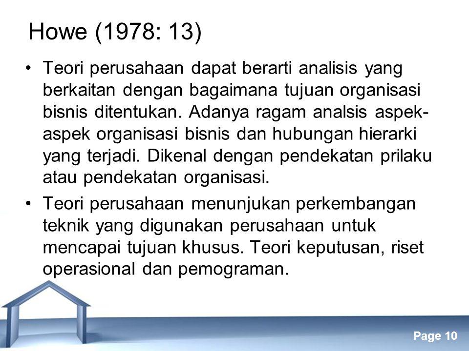 Howe (1978: 13)