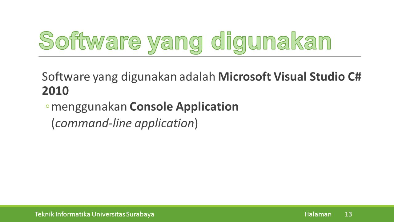 Software yang digunakan