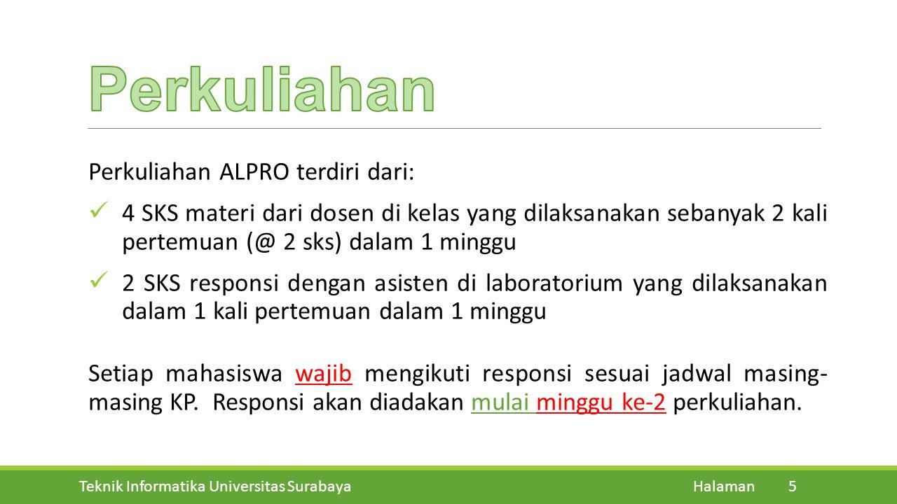 Perkuliahan Perkuliahan ALPRO terdiri dari: