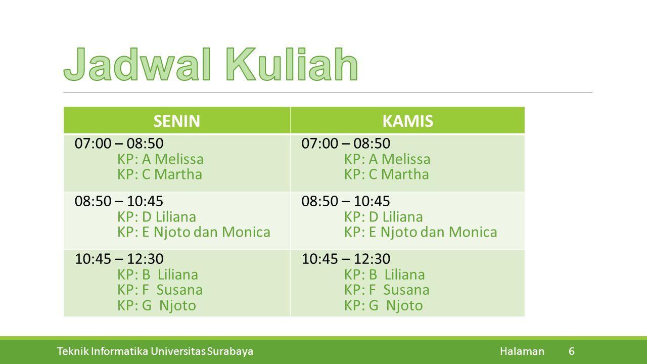Jadwal Kuliah SENIN KAMIS 07:00 – 08:50 KP: A Melissa KP: C Martha