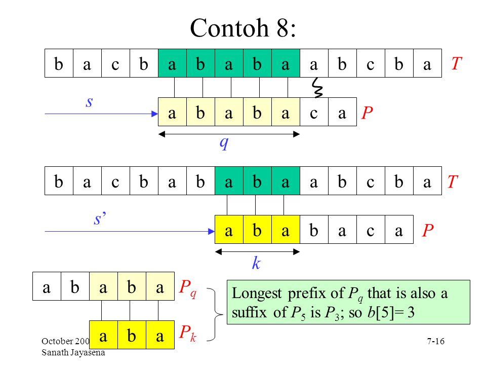 Contoh 8: b a c b a b a b a a b c b a T s a b a b a c a P q b a c b a