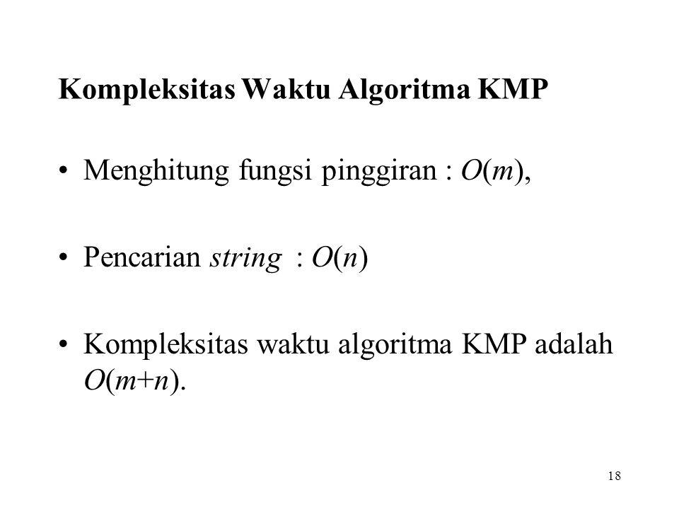 Kompleksitas Waktu Algoritma KMP