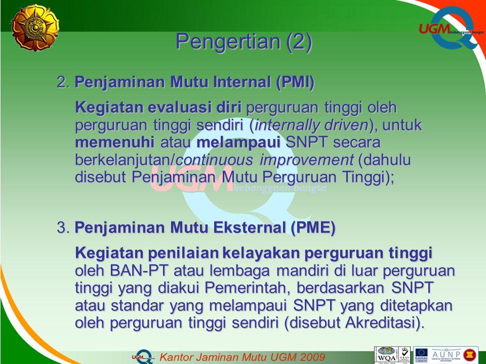Pengertian (2) 2. Penjaminan Mutu Internal (PMI)