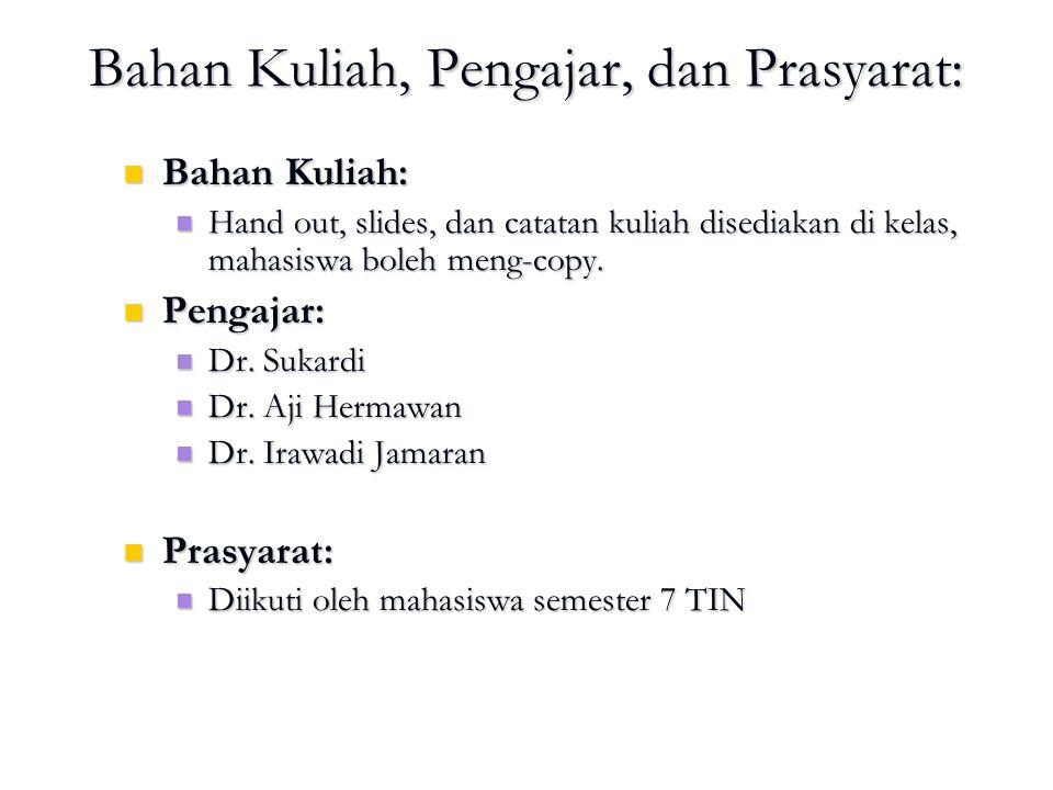 Bahan Kuliah, Pengajar, dan Prasyarat: