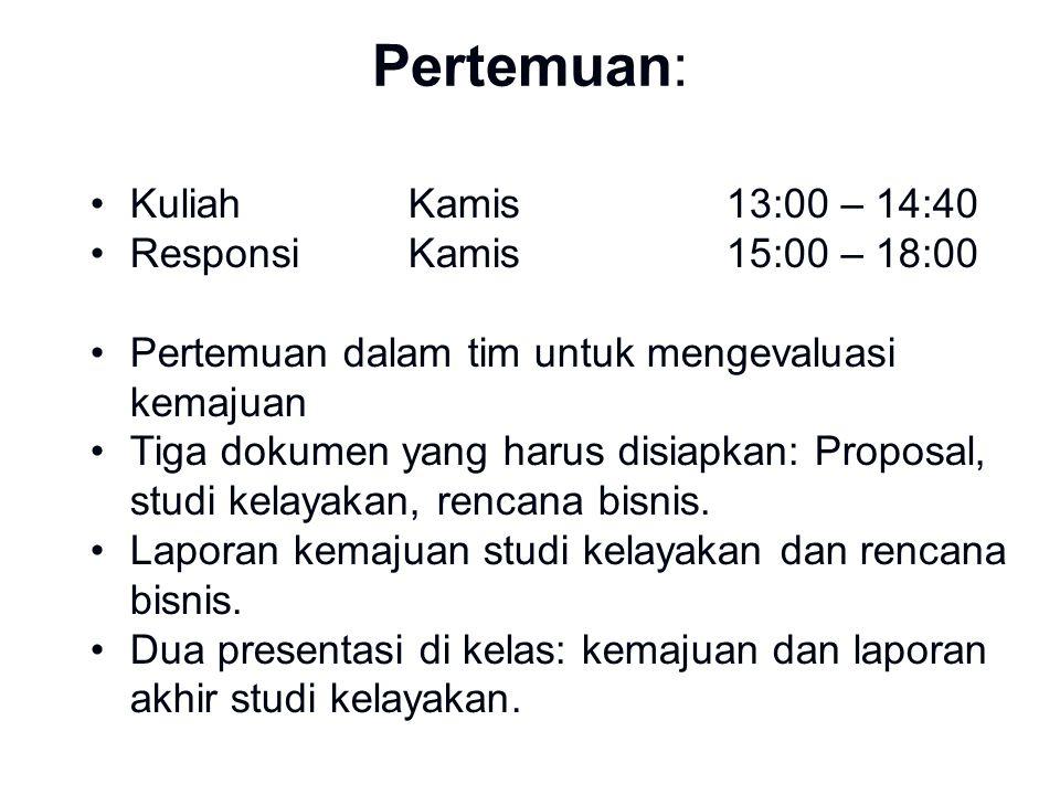 Pertemuan: Kuliah Kamis 13:00 – 14:40 Responsi Kamis 15:00 – 18:00
