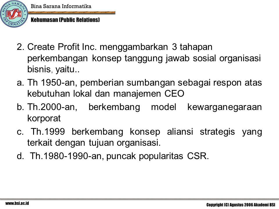 2. Create Profit Inc. menggambarkan 3 tahapan perkembangan konsep tanggung jawab sosial organisasi bisnis, yaitu..