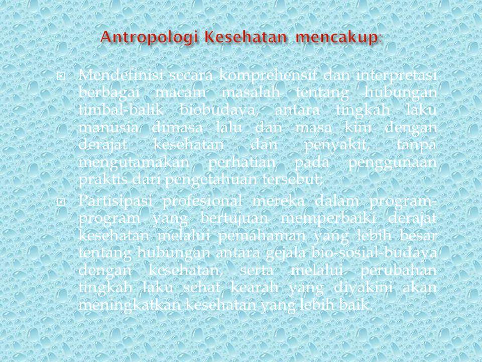 Antropologi Kesehatan mencakup: