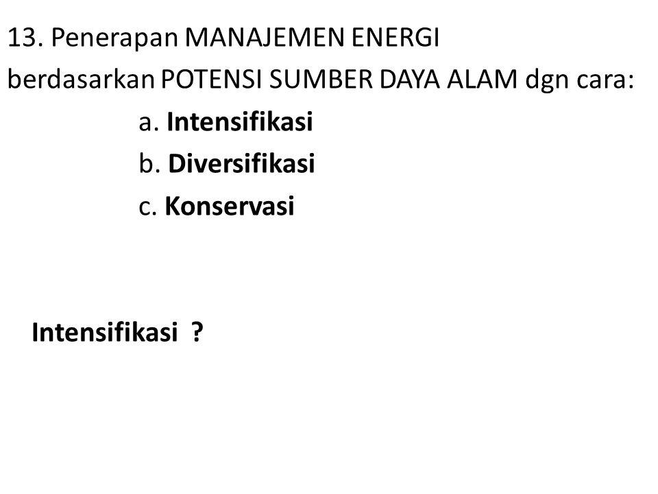 13. Penerapan MANAJEMEN ENERGI berdasarkan POTENSI SUMBER DAYA ALAM dgn cara: a.