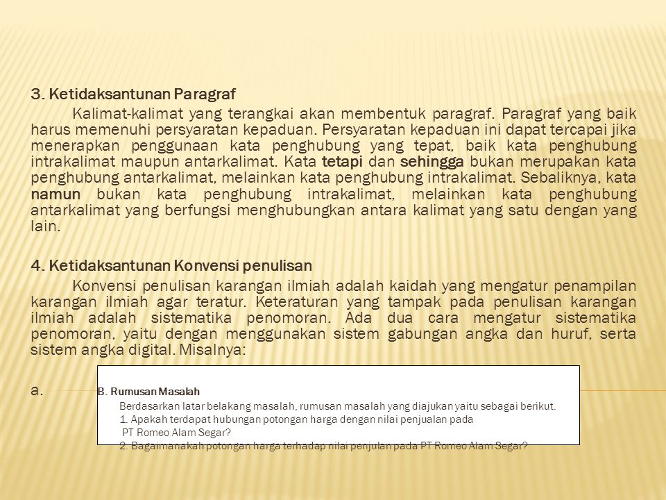 3. Ketidaksantunan Paragraf