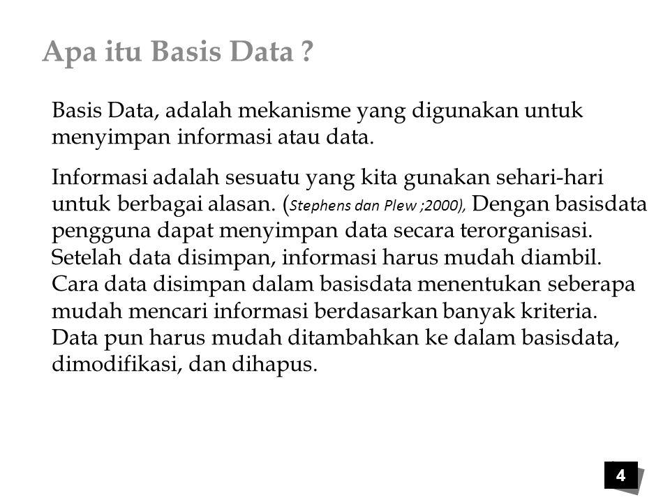 Apa itu Basis Data Basis Data, adalah mekanisme yang digunakan untuk menyimpan informasi atau data.