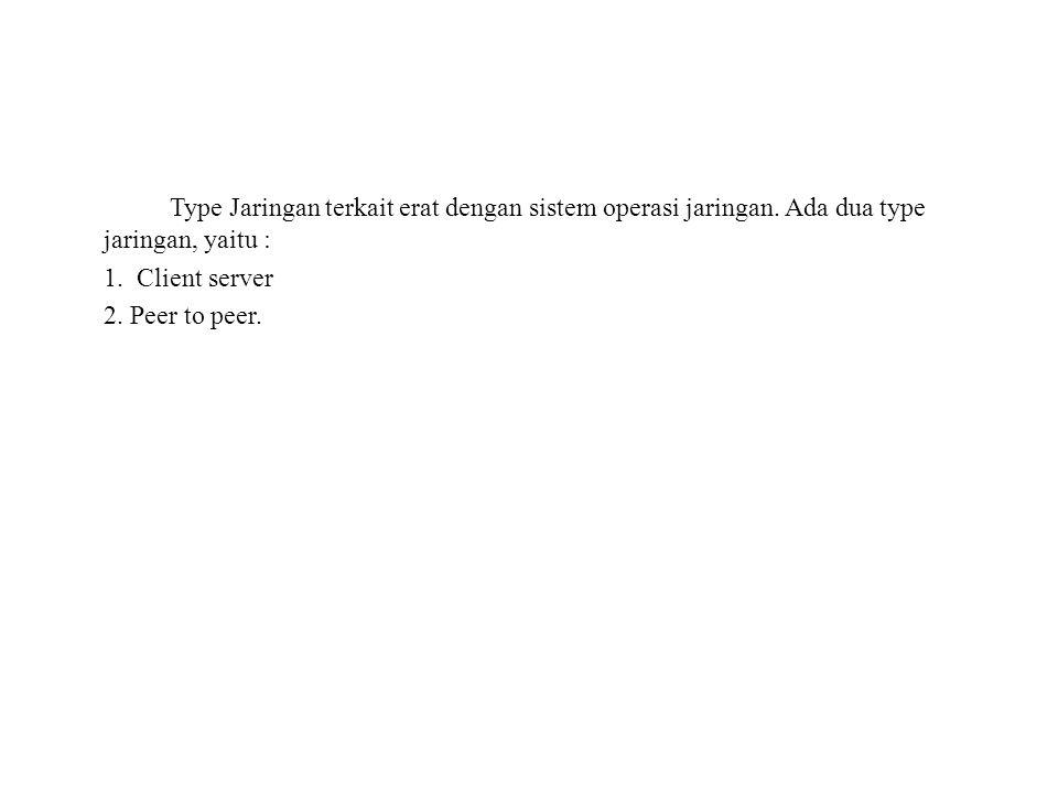 Type Jaringan terkait erat dengan sistem operasi jaringan