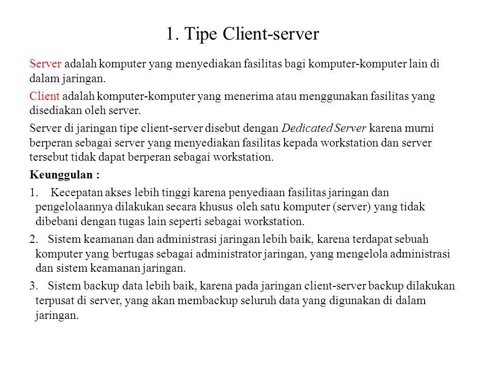 1. Tipe Client-server Server adalah komputer yang menyediakan fasilitas bagi komputer-komputer lain di dalam jaringan.