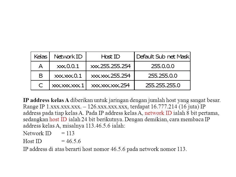 IP address kelas A diberikan untuk jaringan dengan jumlah host yang sangat besar. Range IP 1.xxx.xxx.xxx. – 126.xxx.xxx.xxx, terdapat 16.777.214 (16 juta) IP address pada tiap kelas A. Pada IP address kelas A, network ID ialah 8 bit pertama, sedangkan host ID ialah 24 bit berikutnya. Dengan demikian, cara membaca IP address kelas A, misalnya 113.46.5.6 ialah: