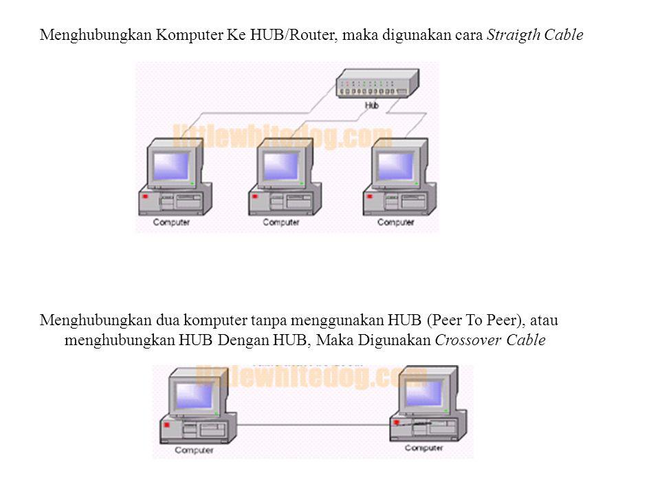 Menghubungkan Komputer Ke HUB/Router, maka digunakan cara Straigth Cable