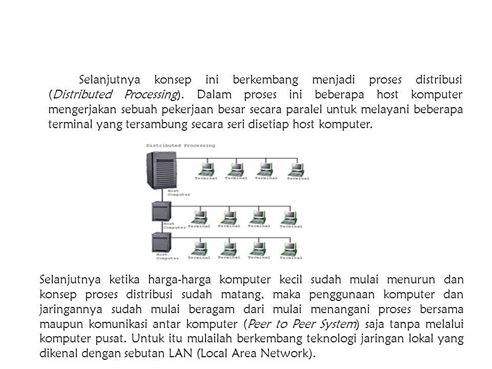 Selanjutnya konsep ini berkembang menjadi proses distribusi (Distributed Processing). Dalam proses ini beberapa host komputer mengerjakan sebuah pekerjaan besar secara paralel untuk melayani beberapa terminal yang tersambung secara seri disetiap host komputer.