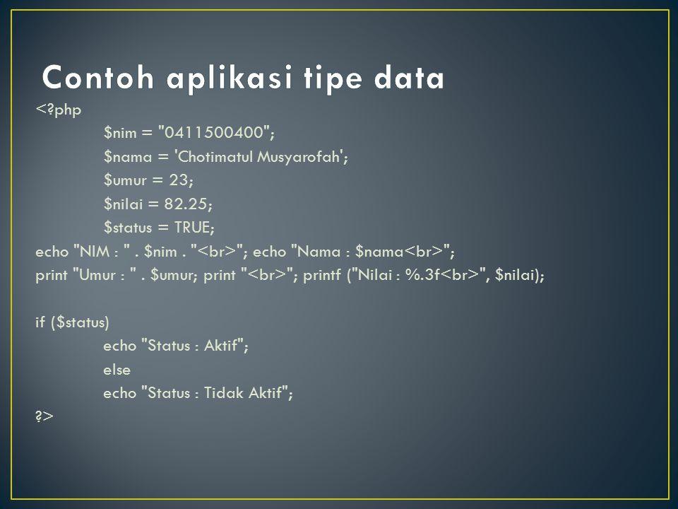 Contoh aplikasi tipe data