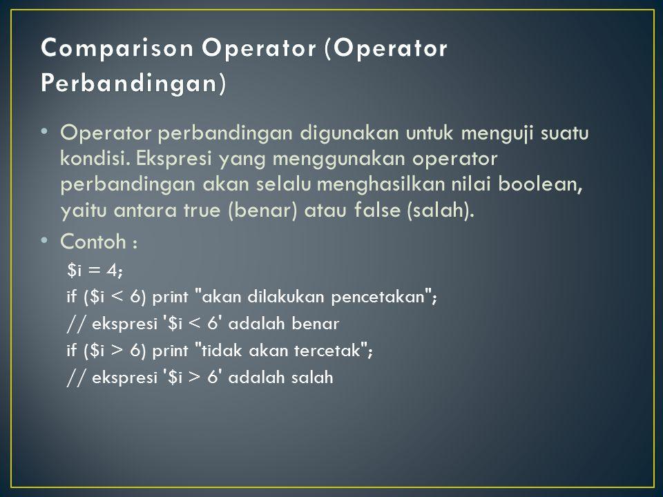 Comparison Operator (Operator Perbandingan)