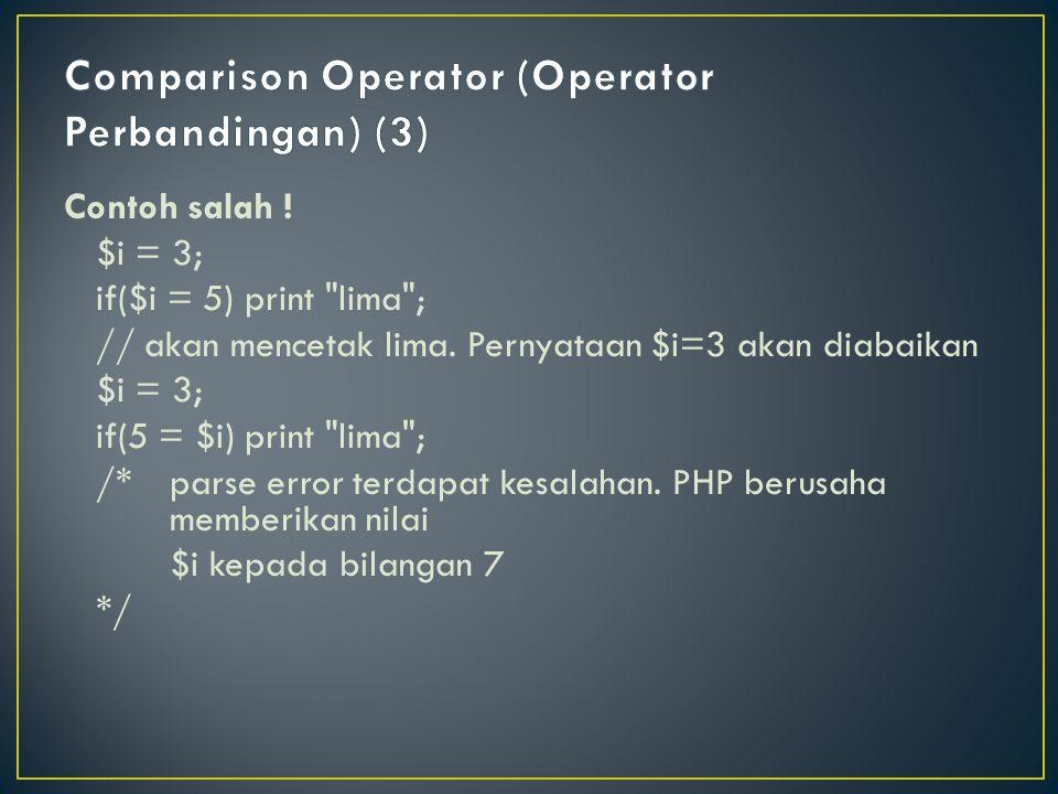 Comparison Operator (Operator Perbandingan) (3)