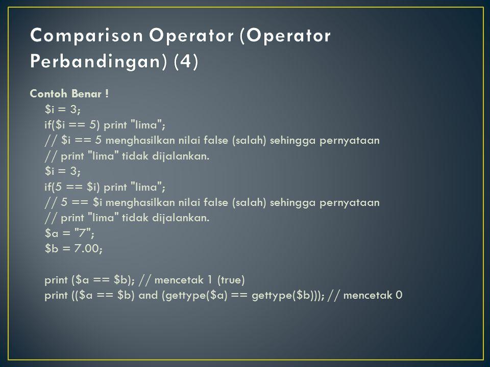 Comparison Operator (Operator Perbandingan) (4)