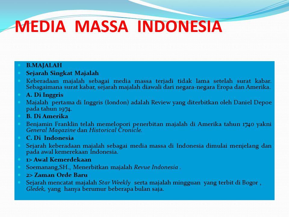 MEDIA MASSA INDONESIA B.MAJALAH Sejarah Singkat Majalah