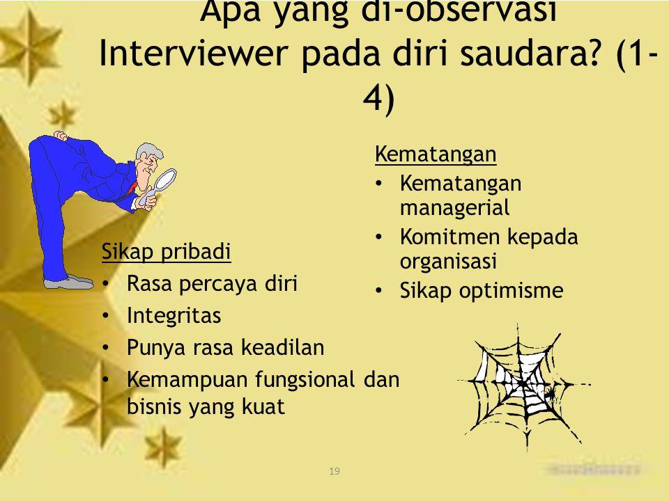 Apa yang di-observasi Interviewer pada diri saudara (1-4)