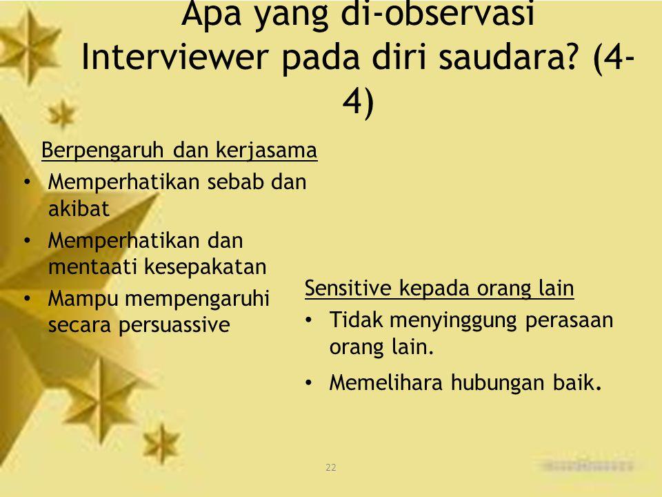 Apa yang di-observasi Interviewer pada diri saudara (4-4)