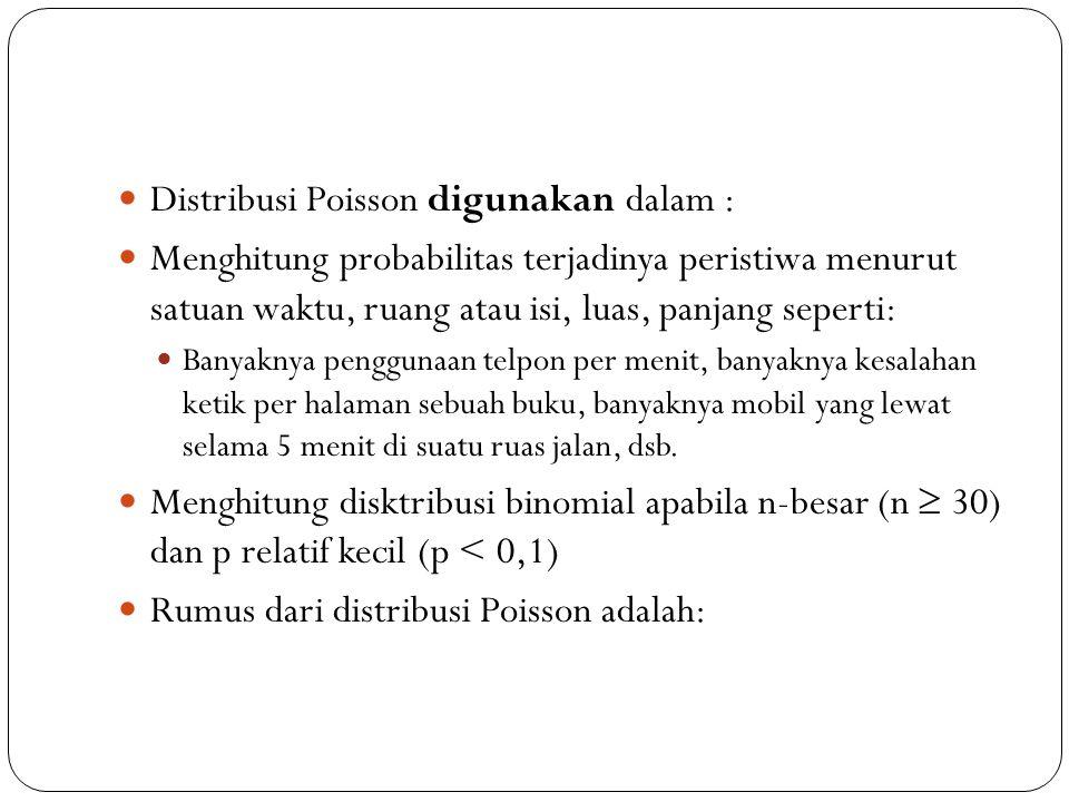 Distribusi Poisson digunakan dalam :