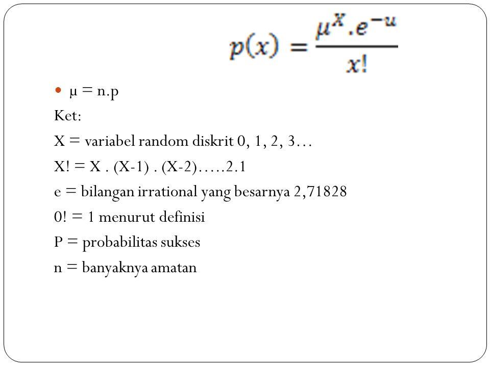 µ = n.p Ket: X = variabel random diskrit 0, 1, 2, 3… X! = X . (X-1) . (X-2)…..2.1. e = bilangan irrational yang besarnya 2,71828.