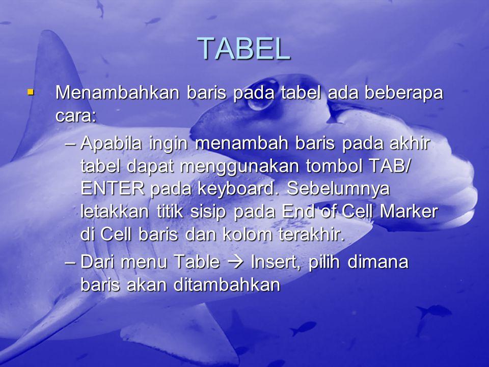 TABEL Menambahkan baris pada tabel ada beberapa cara: