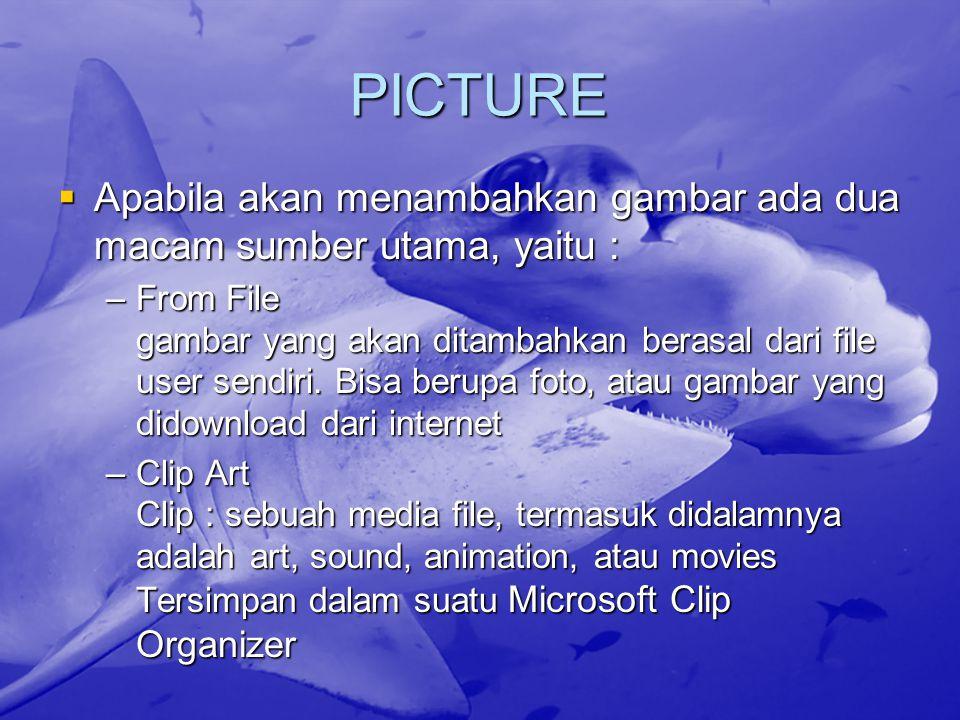 PICTURE Apabila akan menambahkan gambar ada dua macam sumber utama, yaitu :