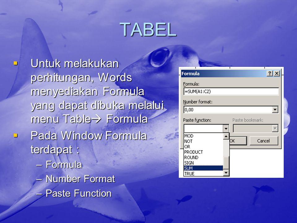 TABEL Untuk melakukan perhitungan, Words menyediakan Formula yang dapat dibuka melalui menu Table Formula.