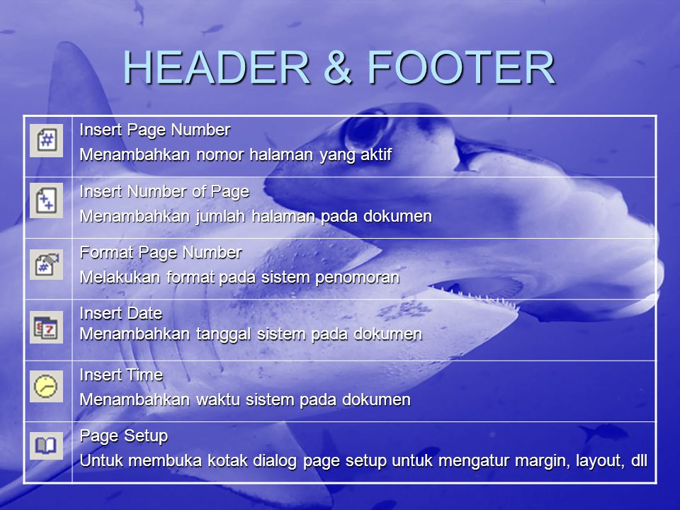 HEADER & FOOTER Insert Page Number