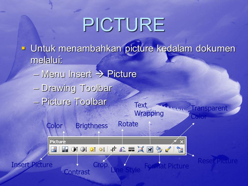 PICTURE Untuk menambahkan picture kedalam dokumen melalui: