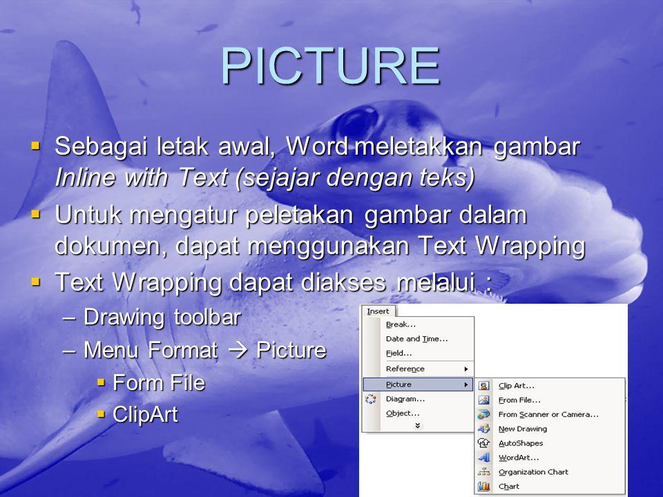 PICTURE Sebagai letak awal, Word meletakkan gambar Inline with Text (sejajar dengan teks)
