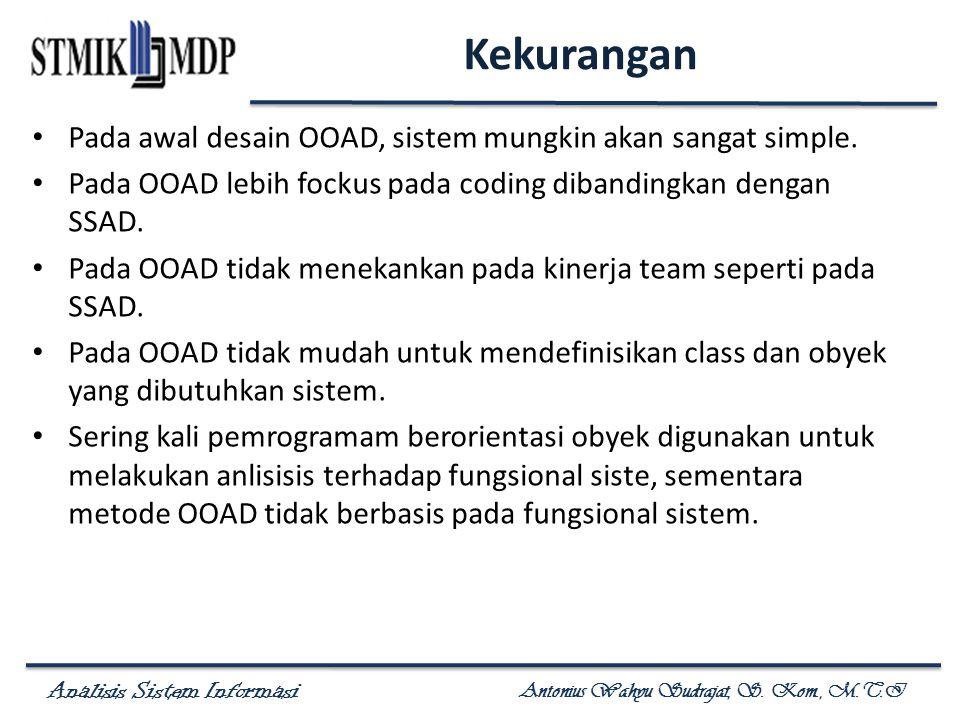 Kekurangan Pada awal desain OOAD, sistem mungkin akan sangat simple.