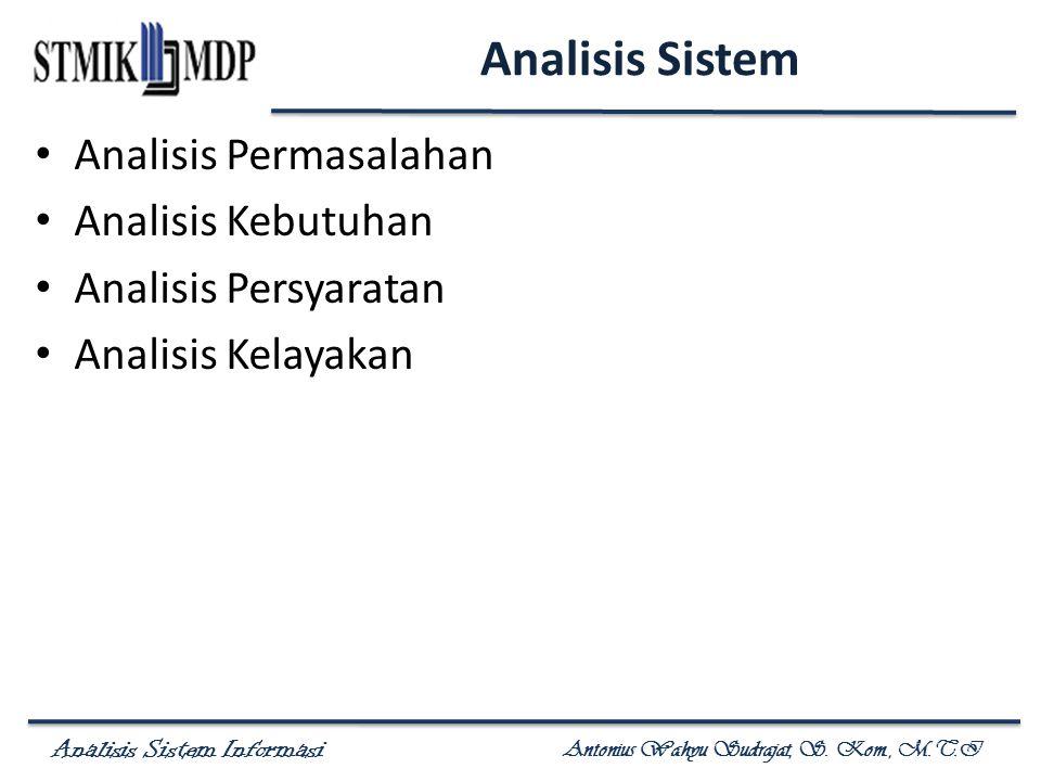 Analisis Sistem Analisis Permasalahan Analisis Kebutuhan