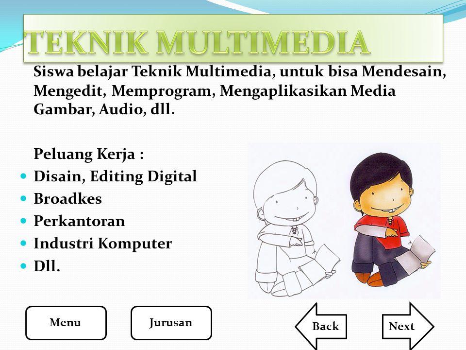 TEKNIK MULTIMEDIA Siswa belajar Teknik Multimedia, untuk bisa Mendesain, Mengedit, Memprogram, Mengaplikasikan Media Gambar, Audio, dll.