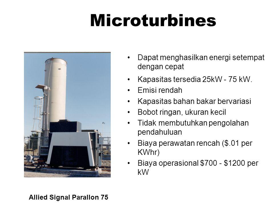 Microturbines Dapat menghasilkan energi setempat dengan cepat
