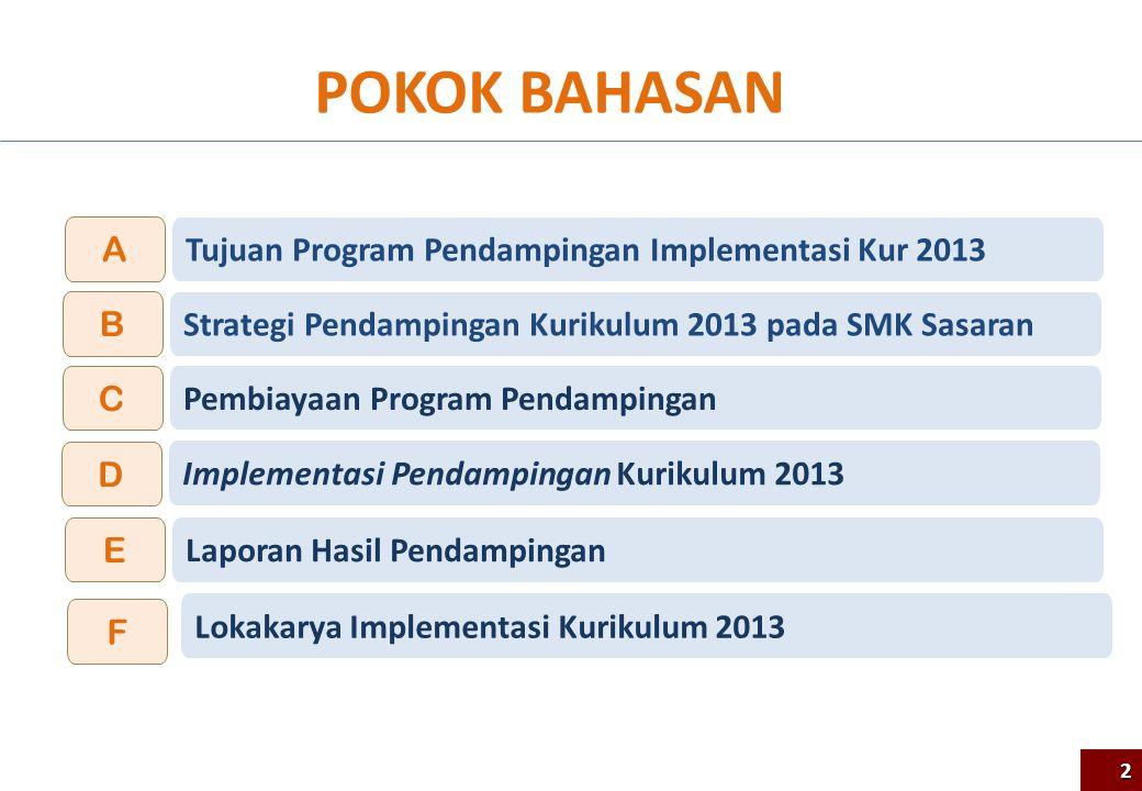 POKOK BAHASAN Strategi Pendampingan Kurikulum 2013 pada SMK Sasaran B